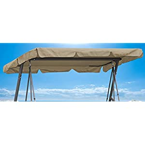 QUICK STAR Ersatzdach 200x145cm Gartenschaukel Universal Hollywoodschaukel 3 Sitzer Sand UV 50 Ersatz Bezug Sonnendach…