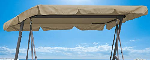 QUICK STAR Ersatzdach 200x145cm Gartenschaukel Universal Hollywoodschaukel 3 Sitzer Sand UV 50 Ersatz Bezug Sonnendach Schaukel Dach