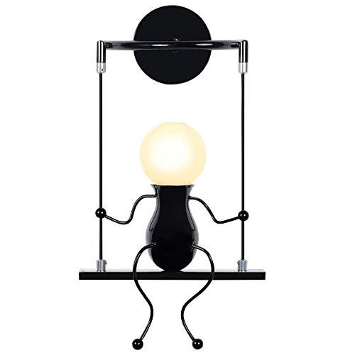 KAWELL Humanoid Kreative Wandleuchte Moderne Wandlampe Einfache Kerzen Wandleuchten Art Deco Max 60W E27 für Kinder Zimmer, Treppen, Flur, Restaurant, Küche, Swing Schwarz x1