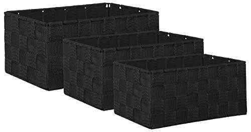 Brandsseller Aufbewahrungsbox Dekobox - Rattan-Optik - 3er-Set schwarz -