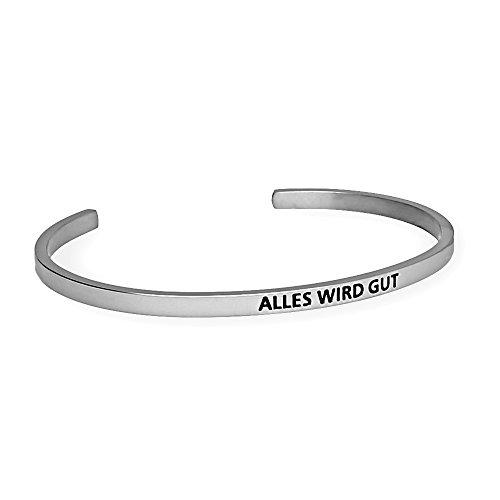URBANHELDEN - Armreif mit Gravur - Damen Schmuck Inspiration Motivation - Verstellbar, Edelstahl - Armband mit SpruchAlles wird gut - Silber