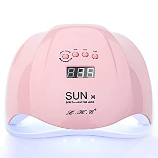 UV LED Nail Lamp Dryer Machine Smart Auto-sensing with 4 Timer Setting 10/30/60/99 Second Timer Pink