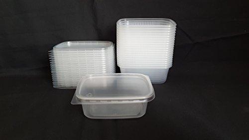 Set 20 Stück 200ml Kleine Einweg Kunststoff Rechteckig Behälter Eimer mit Deckel für Lebensmittel. New