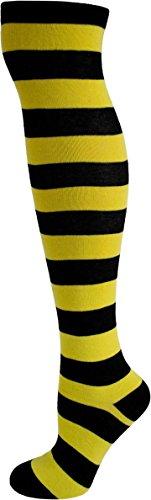 normani® Damen Overknees Geringelt, Blickdicht mit vielen Farbmustern Farbe Schwarz/Gelb