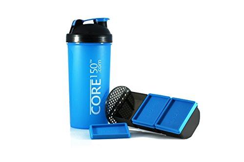Corel 150 blau 1 Liter Protein Shaker mit 3 Speicherfächern