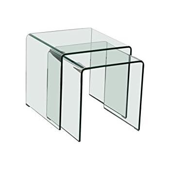 Azuro bent glass nest of 2 tables amazon kitchen home azuro bent glass nest of 2 tables watchthetrailerfo