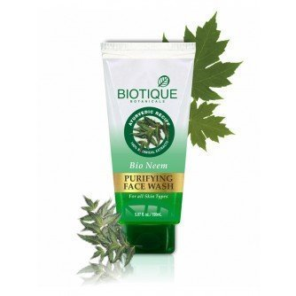 2 X Biotique Bio Neem Purifying Face Wash Fresh-foaming, 100% Soap-free Antibacterial Prevent Pimples Cleansing Gel (50ml X 2 Pack) by Biotique