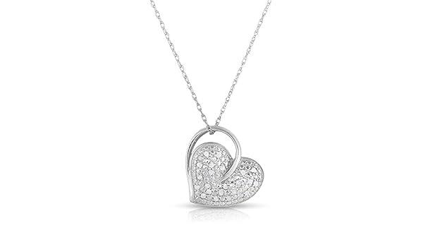 NATALIA DRAKE Blowout Sale 0.15 ctw Diamond Heart Pendant in Sterling Silver