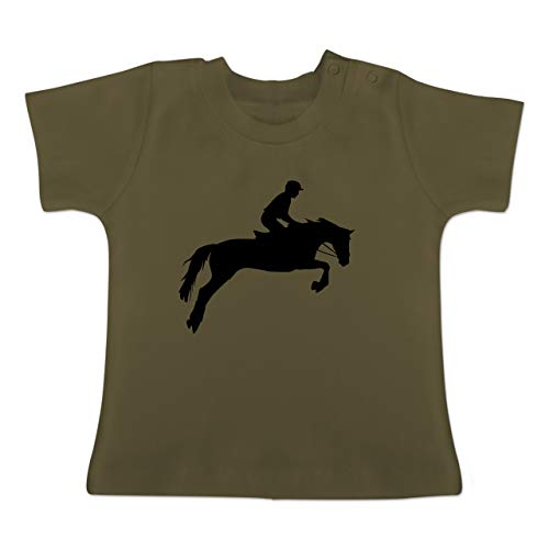 Sport Baby - Springreiten - 6-12 Monate - Olivgrün - BZ02 - Baby T-Shirt Kurzarm