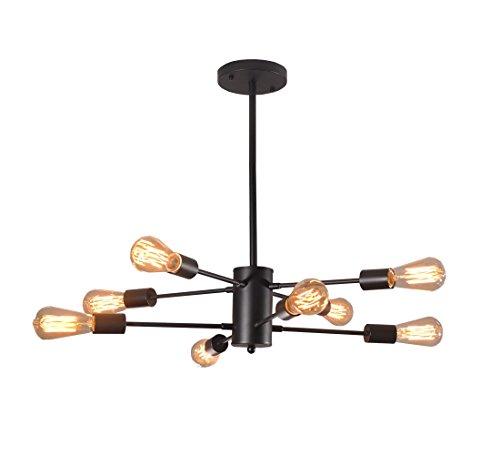 8-licht-esszimmer-kronleuchter (Dellemade Sputnik Kronleuchter 8-Licht Vintage Pendelleuchte für Esszimmer, Wohnzimmer, Küche, Büro, Café, Restaurant, Schwarz)