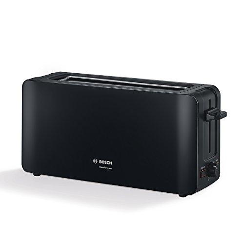Bosch tat6a003Tostadora de ranura larga Comfort Line, automática de la rebanada, función de descongelación, 1090W, Negro