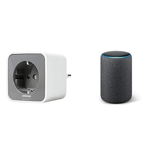Echo Plus tessuto antracite + Osram Smart +Plug Presa Intelligente, Bianco, Confezione da 1 Pezzo
