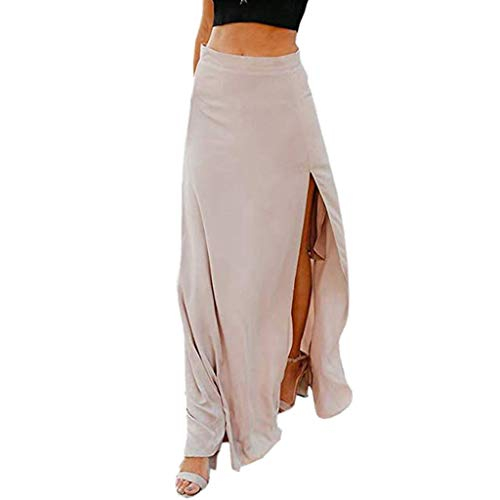 CUTUDE Lang Rock Damen Maxirock A-Linie Schlitz Belted Abendröcke Faltenrock Hoher Taille Elegant Vintage Asymmetrisch Cocktail Abendrock Rockabilly Röcke Sommerrock Party Kleider (Khaki, Small) Belted Flared-hose