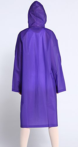 Frauen Umwelt-freundliche EVA Mode Lässige Volltonfarbe Regenbekleidung Kapuzen Translucence Wasserdichte Regen Regenmantel Violett