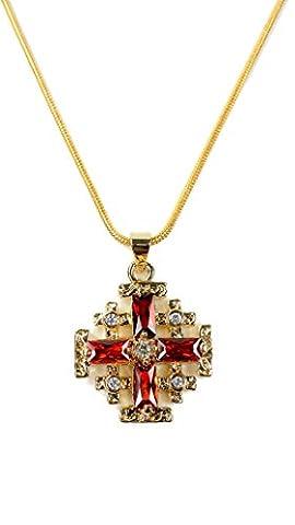 Collier et pendentif Croix de Jérusalem plaqué or avec grenat et zircon rouge