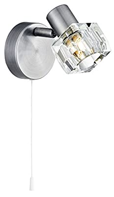 Modern Satin Chrome Wall Light with Chunky Ice Cube Shade by Haysom Interiors