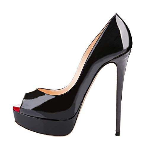 Onlymaker Damen Extreme High Fashion Peep Toe Pumps Handarbeit für Hochzeit Party Kleid Stiletto Schlupfschuhe, Schwarz - Schwarz - Größe: EU 37 Detail Peep Toe Pumps