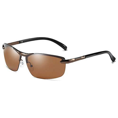 Trend Herren-Sonnenbrille in Braun/Blau Metall Material Halbrahmen Farbwechsel Blendfreie UV400-Sonnenbrille Brille (Farbe : Brown)