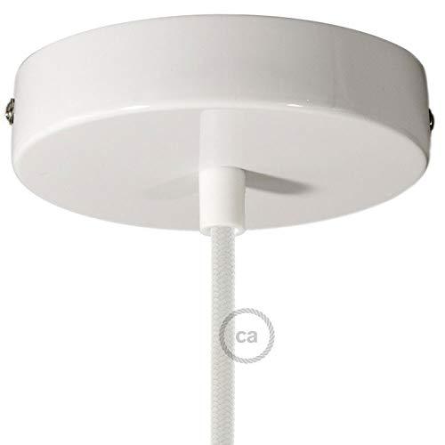 Creative-Cables Kit Baldachin weiß 120 mm mit zylindrischer Kunststoff Zugentlastung in weiß. - Weißen Baldachin Kit