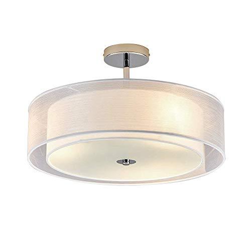 LED Deckenleuchte Modern Runde Design Deckenlampe Wohnzimmer Esszimmer Schlafzimmer Küche Flur Lampe Beleuchtung Leuchte Weiß Textil Lampenschirm Acryl Panel Chrom D50cm Warmweiß (3000K) 3 * 7W -
