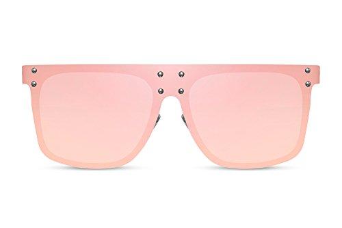 Cheapass Sonnenbrille Damen Verspiegelt Rosa Pink Rahmenlos Flat-Mirror UV-400 Groß XXL Oversized Plastik