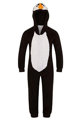 Kapuze Einhorn Bademantel Einteiler Kostüm Nachtwäsche kuschelig Weihnachten Geschenkidee - Pinguin Einteiler, 3-4 (Tween Kostüme Mädchen)