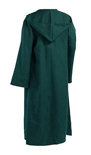 Priomix Halloween Kapuzen Robe Film Zauberer Hexe Cosplay Umhang Anime Wesentlich Vintage Mode Einfarbig Langarm Kapuzenjacke Mantel (Color : Grün, Size : XL)