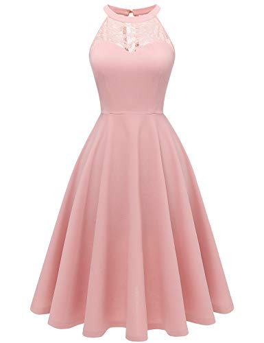 bbonlinedress Damen Cocktailkleid Abendkleider Rockabilly Retro Vintage Neckholder Blush L -