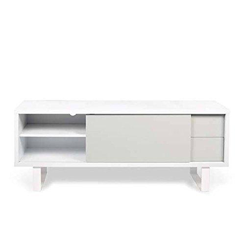 NILO, Meuble TV ou buffet bas : pieds métal, porte coulissante, tiroirs. Rien ne manque - 150 x 45 x 58 cm - blanc, gris clair mat