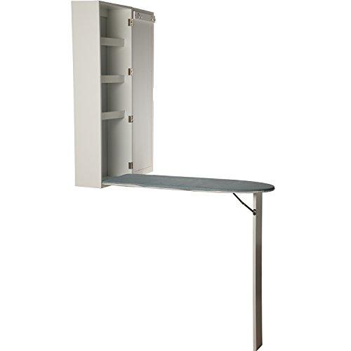 DonRegaloWeb Wand-Schrank mit Spiegel und Bügelbrett, zusammenklappbar, aus MDF, in Weiß