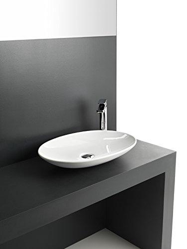 Vasque Lavabo à Poser design La Fontana en céramique blanche 60x42xH9,5