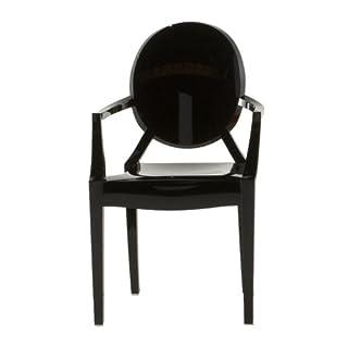 Kartell LOULOU GHOST Chaise lot de 4, noir