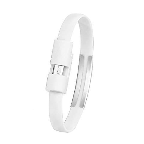 bracelet cable de charge blanc - SODIAL(R)bracelet micro chargeur USB cable de charge cable de synchronisation des donnees pour Android telephone portable (blanc)