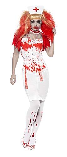 Smiffys, Damen Blutige Krankenschwester Kostüm, Rock, Korsett, Bolerojäckchen, Halsband und Haube, Größe: S, 21952
