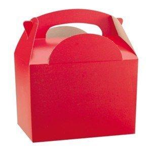10 Enfants/enfants Couleur Simple Porte Nourriture Repas Fête D'anniversaire Boite Pochette Surprise Boîtes - taille : 152mm x 100mm x 102mm - Rouge