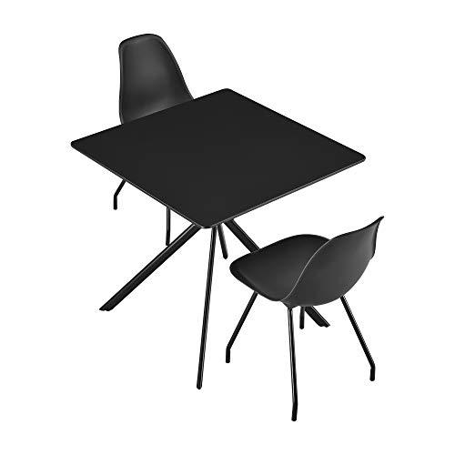 [en.casa] Esstisch mit 2 Stühle - 78x78x75cm Küchentisch Esszimmertisch Essgruppe Schwarz