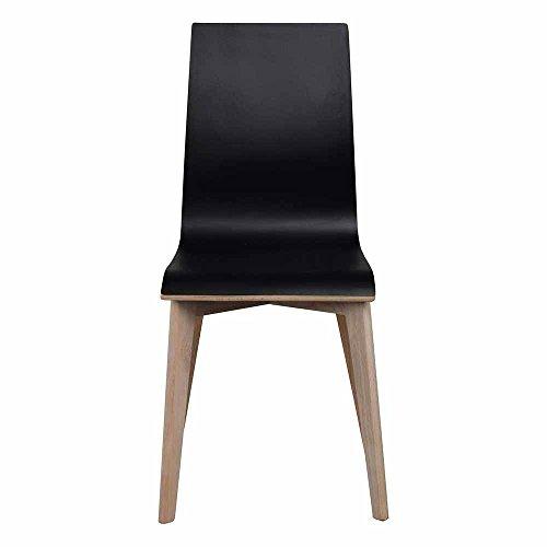 Pharao24 Stuhl Set in Schwarz Eiche Bianco Holzbeine