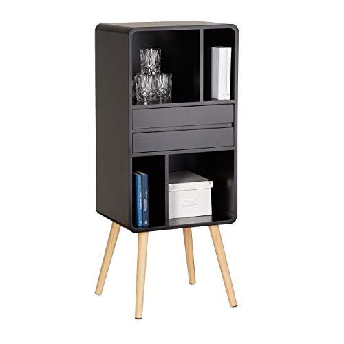 Relaxdays Standregal mit 5 Fächern, herausnehmbare Schublade, vierbeiniges Bücherregal, Holzbeine, 114x47x38 cm, schwarz