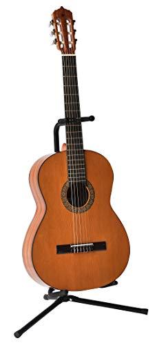Volt GS-100 Gitarrenständer mit Schwanenhals als Gitarrenstativ für Akustik-, Bass- und E-Gitarre mit Anti-Kipp-Verschluss, Schwarz