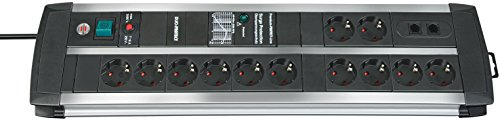 Brennenstuhl Premium-Protect-Line, Steckdosenleiste 12-fach mit Überspannungsschutz (3m Kabel und Schalter) Farbe: schwarz