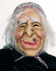 Orlob Maske Hexe mit Kopftuch und Haaren zu Halloween Karneval Fasching