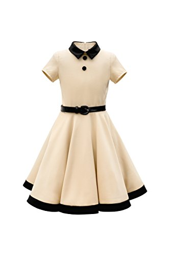BlackButterfly Enfants Robe Années 50 Vintage Clarity 'Lucy' (Champagne, 11-12 Ans)