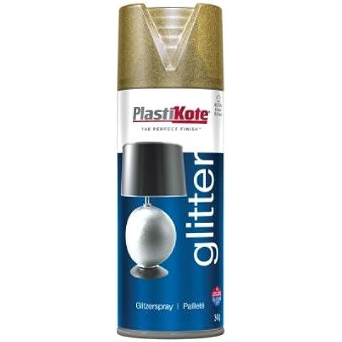 Plasti-kote 172-Bomboletta spray decorativa, 400 ml, finitura: oro glitterato