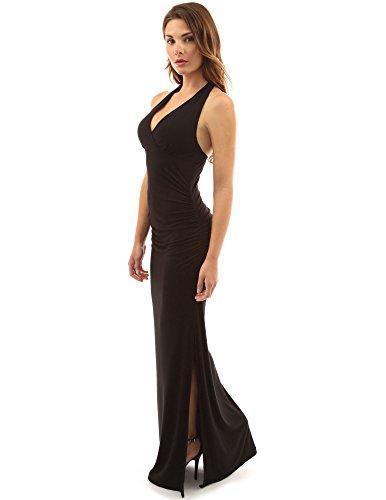 PattyBoutik femmes licol taille empire côté froncé robe fente maxi Noir