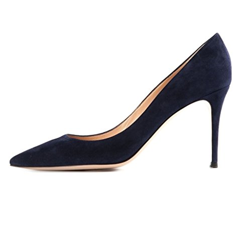 Frühling Pumps Damenschuhe Schuhe 80mm Auf Darkblue Patent Spitzschuh Edefs Beleg xgCF4SqxW
