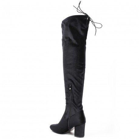 Ideal Shoes - Cuissardes talon épais et effet velours Alexa Noir