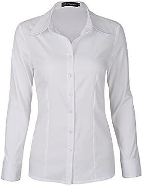SUNNOW Blusa Blanca para Mujer Estilo Clástico Mangas Largas