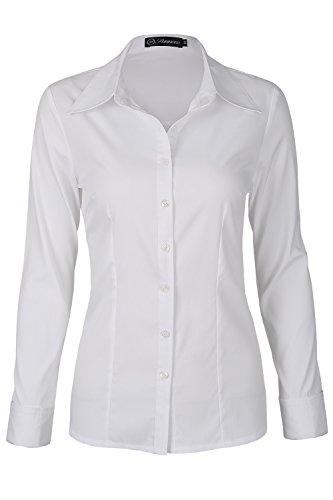 SUNNOW Damen Baumwoll-Hemd Basic Einfache Weiße Collared Lange Ärmel Bluse mit Button, Weiß - L (Klassische Langarm-bluse)