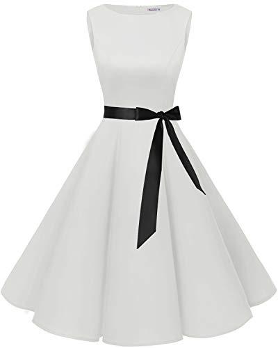 Bbonlinedress 50s Vestidos Vintage Retro Rockabilly Clásico White L