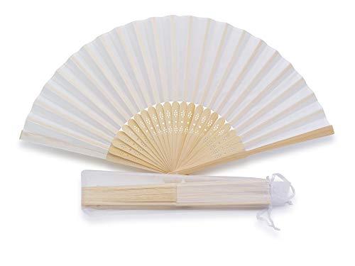 50 Abanicos de Seda para Boda de color Blanco con Bolsita Individual en Organza (50 Abanicos)